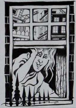 Tusche - Mary am Fenster